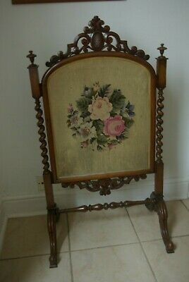 Antique Victorian Tapestry Fire Screen