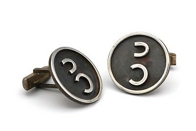 Large Round Modernist Sterling Cufflinks, Silver Double Horse Shoe Cuff Links