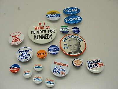 Lot 19 Vintage Political Pinback Buttons Kennedy Goldwater Nixon Reagan Bush