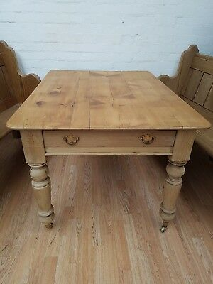 Striking Antique Victorian Pine Farmhouse Table - C1900
