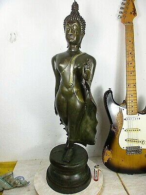 alte Walking Buddha - Statue Bronze UNIKAT ANMUT PUR Thailand ~1960 Plombe 83cm
