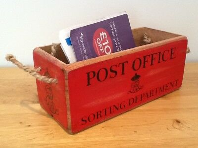 Red Post Office Wooden Crate. Letter Storage Box with Rope Handles.