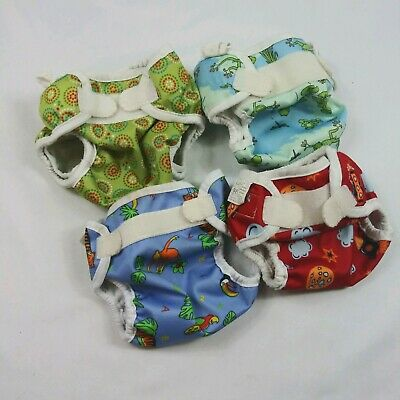 Bummis Super Whisper Wrap Cloth Diaper Shell/Cover Lot Of 4 Size Small and Med