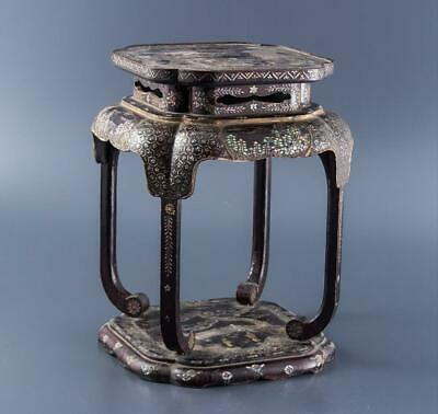 Chinese Qing Dynasty Mother of Pearl Shell Inlaid Flower Table / W 32× H 41[cm]