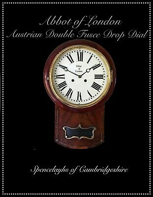 Austrian Mahogany and Walnut Double Fusee Drop Dial Wall Clock