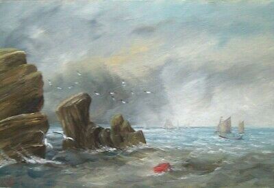 LIVELY SEASCAPE LATE 19th/EARLY 20th CENTURY OIL ON BOARD - SIGNED WITH INITIALS