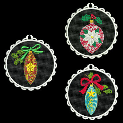 FSL CHRISTMAS ORNAMENTS -6 inch-10 Machine Embroidery Designs CD (FREE SHIPPING)
