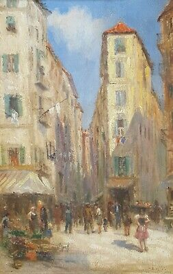 Vintage Original Oil Painting Cityscape Paintings Street Scene French Art