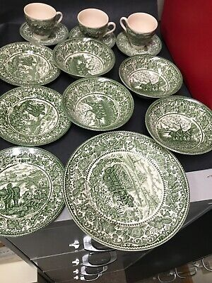 Antique 14 pc Staffordshire Ironstone Green Summer on the Home Farm Limited Rare