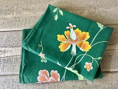 Vintage Fieldcrest Pillowcases Combed Percale Asian Floral Dark Green Set/2