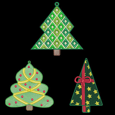 FSL CHRISTMAS TREES - 5 inch-10 Machine Embroidery Designs CD (FREE SHIPPING)