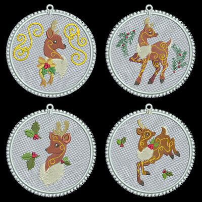 FSL CHRISTMAS REINDEER - 3 inch-10 Machine Embroidery Designs CD (FREE SHIPPING)