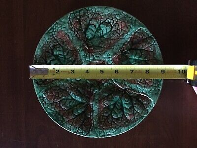 Antique majolica Griffin Hill Smith Etruscan begonia leaf plate