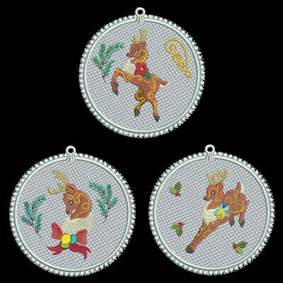 FSL CHRISTMAS REINDEER - 4 inch-10 Machine Embroidery Designs CD (FREE SHIPPING)