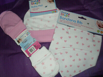 Baby Hat Scratch Mittens & Bandana Bib Set Newborn Boy Girl Doll Shower Gift