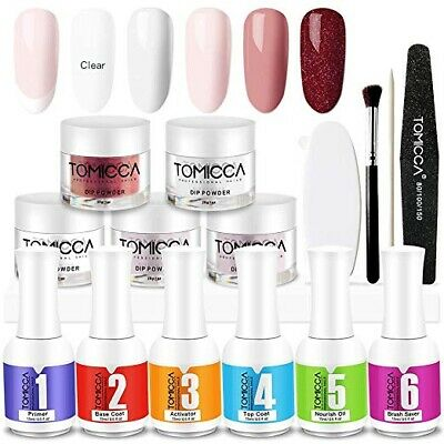 TOMICCA Nail Dipping Powder Starter Kit (5 Powder Set, 1-6,Manicure Tools)