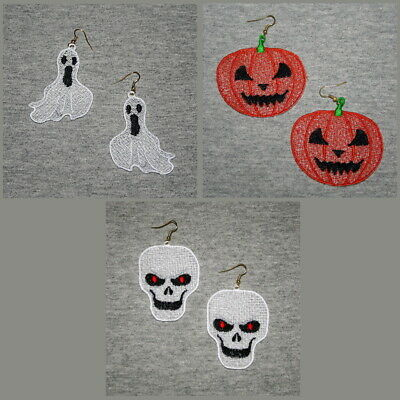 FSL HALLOWEEN EARRINGS- 2.5 inch-10 Machine Embroidery Designs CD(FREE SHIPPING)