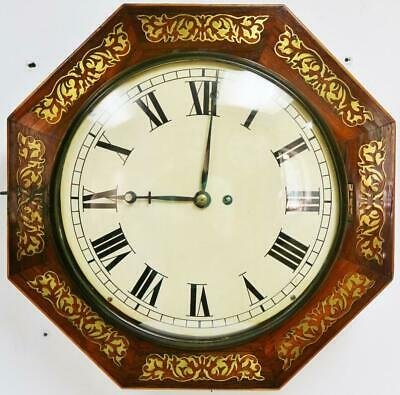 Beautiful Antique Octagonal Inlaid Boulle 8 Day Single Fusee Dial Wall Clock