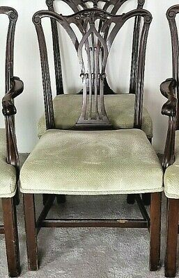 Set of 4 Antique English Chippendale Georgian Mahogany Dining Side Chairs Only