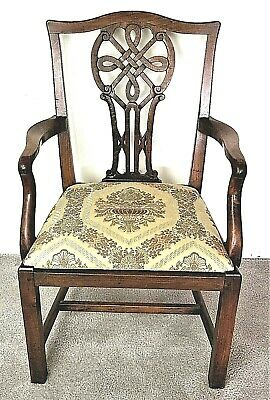 Late 18th Century Irish Chippendale Carved Mahogany Celtic Knot Armchair