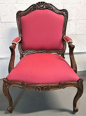 Stunning French Provincial Louis XV Style Hand Carved Wood Bergere Armchair