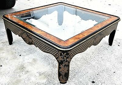 Drexel Heritage Et Cetera Burlwood Glass Asian Chinoiserie Center Coffee Table