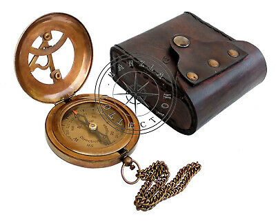 Vintage Maritime Pocket Sundial Nautical Brass Compass With Antique Leather Case