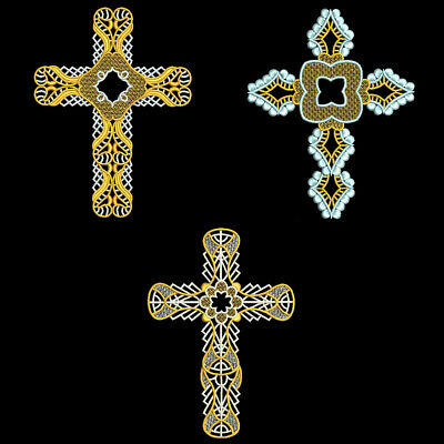 FSL ORNATE CROSSES - 6inch - 10 Machine Embroidery Designs CD (FREE SHIPPING)