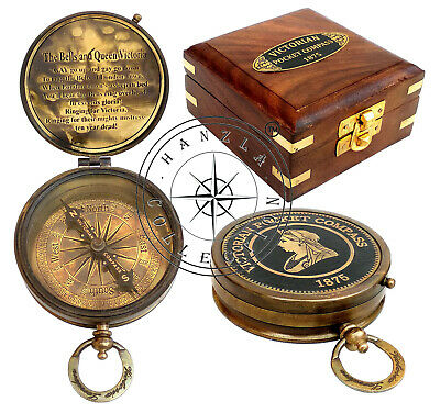 "Decorative 3"" Maritime Nautical Brass Victorian Pocket Compass With Antique Box"