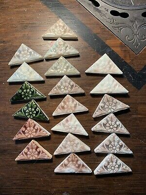 24 Antique Victorian Floral Triangle Tiles Trent Low Hamilton Pottery Majolica