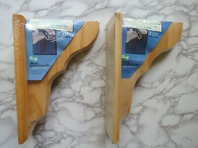 "Pine Wood Shelf Brackets Pair 7"" x 11"" Rustic Unfinished Corbels USA Made NOS"