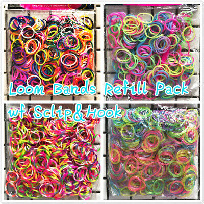 300pcs Pack Rainbow Rubber Loom Refill Kit Bands Charms DIY Bracelet Mixed Color