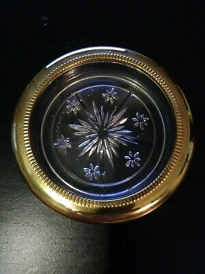 New Condition 1 each Crystal and Silver Coaster//Ashtray by Leonard Italy