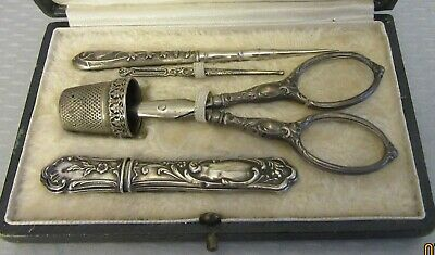 antique FRENCH STERLING SILVER ETUI 5P sewing embroidery set thimble scissors