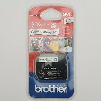 BROTHER LABELLING TAPE CASSETTE P-TOUCH M-K221BZ 9MM x 8M WHITE WITH BLACK TEXT
