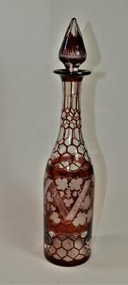 "Bohemian Ruby Red Hand Cut to Clear &Etched VINE LEAVES Glass 15""h Vine Decanter"
