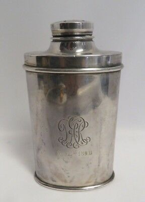 Antique Tiffany & Co. Sterling Silver Monogrammed,1896 Talcum Powder Canister .