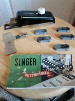 Vintage SINGER Sewing Machine Buttonhole attachment with case and templates 1948