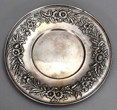 "S. Kirk & Son Sterling Silver 10"" Plate #727 w/ Floral Repousse Border 10.52 ozt"
