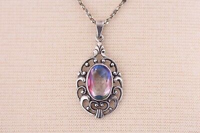 Antique Iris Glass Pendant Necklace Sterling Silver Chain Edwardian 1910s 1920s