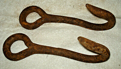 Pair Vintage Antique Primitive Cast Iron Steel Hooks Butcher Kettle Farm J-Hook
