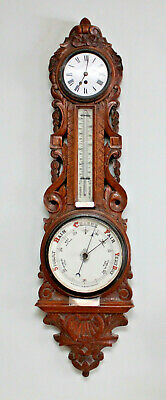 A Superb Huge Antique c19th Carved Oak Compendium Clock Barometer Thermometer
