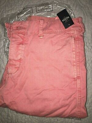 Men's NWT Hollister Co Beach Prep Fit Garment-dyed Shorts, Sz 34, Red