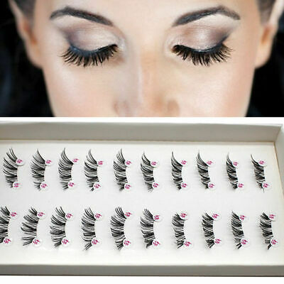 10 Pairs Handmade Cross False Eyelashes HALF MINI CORNER Eye WINGED Lashes G5E4