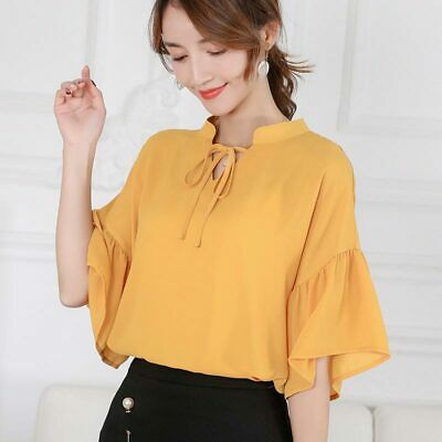 Top Summer Short Sleeve Ladies Blouse Loose Shirt Women Fashion T-Shirt Chiffon