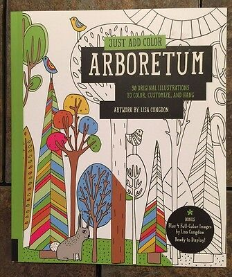 Just Add Color Arboretum (Plant, Floral, Animal) Adult Coloring Book BN Grown Up
