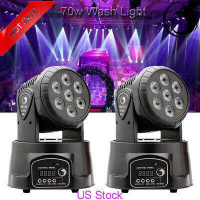 2PCS U`King Stage Lighting 7 LED RGBW Wash Moving Head DMX DJ Disco Party Light