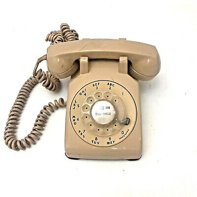 Vintage Bell Southwestern Rotary Dial Phone Beige With Cord Works Great - RARE !