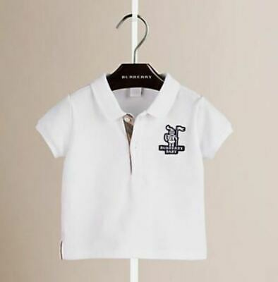 Burberry Baby New Boy's Knight Polo Shirt 9 Mos White Cotton Pique Check Nwot