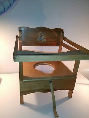 Vintage Kauffman MFG Co. Little Bo Peep Decal Wooden Potty Training Seat w/Tray
